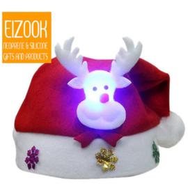 Weihnachtsmütze Weihnachtsmann - Schneemann - Rentier - LED-Beleuchtung