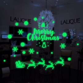 Glow in the Dark raam deur sticker Kerstman met slee - Kerstmis