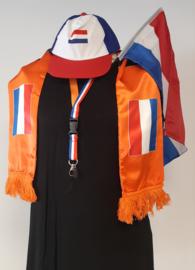 Oranje supporter set - Cap - Holland sjaal - Vlag - Key cord