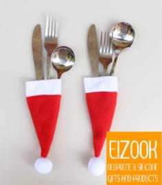 Multi functionele kerstmuts hoes voor bestek | 2 stuks