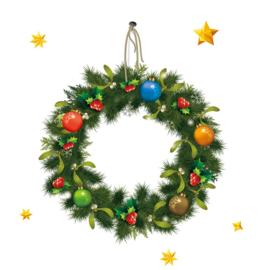 Fenster - Türaufkleber Weihnachtskranz