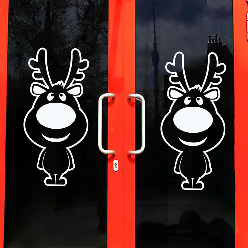 2 x Weihnachtsfensteraufkleber Dekoration Rentier