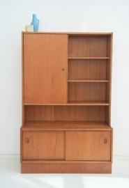 Wandkast – boekenkast met deuren– jaren 60 vintage