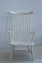 Spijlen fauteuil met hoge rugleuning - hout - vintage