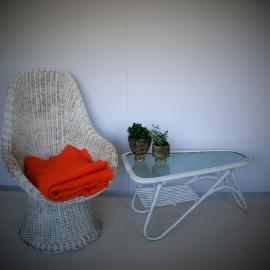 Rotan salontafel - retro