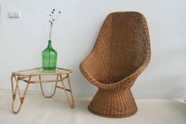 Rieten, rotan stoel met extra hoge rugleuning – retro seventies