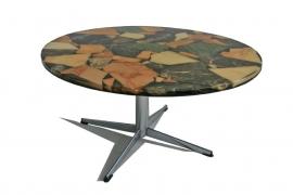 Ronde salontafel met natuursteen in epoxyhars blad - retro