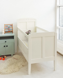 Vintage houten baby/peuter ledikantje 9 – roomwit - restyle