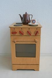Retro kinderspeelgoed fornuisje van hout - 2