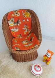 Peuter stoel van pitriet – bijpassend kussen - vintage