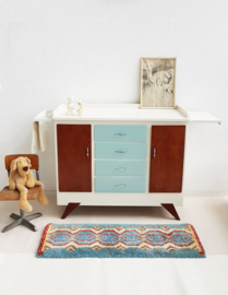 Vintage – grote sixties commode – grijsblauw – restyle - 3