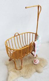 Vintage rotan wieg met rotan onderstel - 9