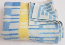 100% wollen deken  Hollands Glory – blauw/geel – vintage – nr 17
