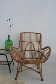 Rotan stoel met originele bekleding - vintage