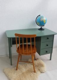 Vintage houten bureau - grijsgroen – 3 - restyle