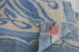 100% wollen deken – helder blauw en roomwit – vintage