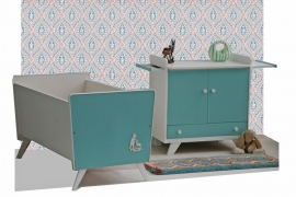 Set - commode + bedje - vintage blue - sixties