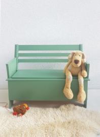 Peuter klepbankje, opbergmeubel 02 – vintage groen - restyle