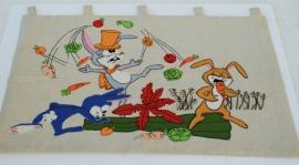 Vintage wanddoek – 5 – vrolijke hazen