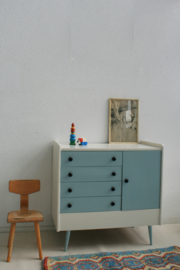 Vintage sixties commode - grijsblauw– restyle - 2