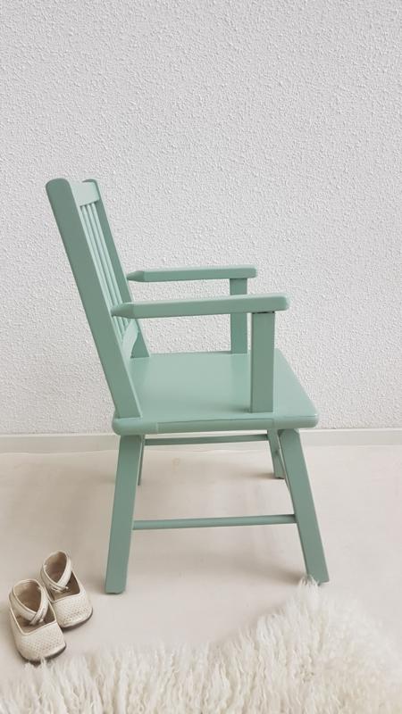 Beste Vintage stoel voor peuter – hout – Celadoon – restyle | zitten IH-04