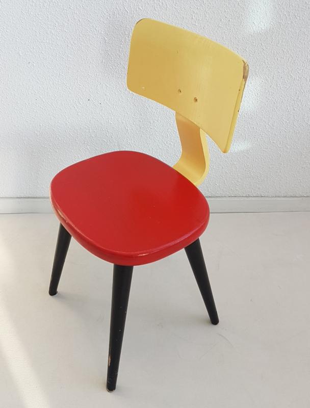 Wonderbaarlijk Peuter stoel – geschilderd hout - geel, rood, zwart - vintage JT-17