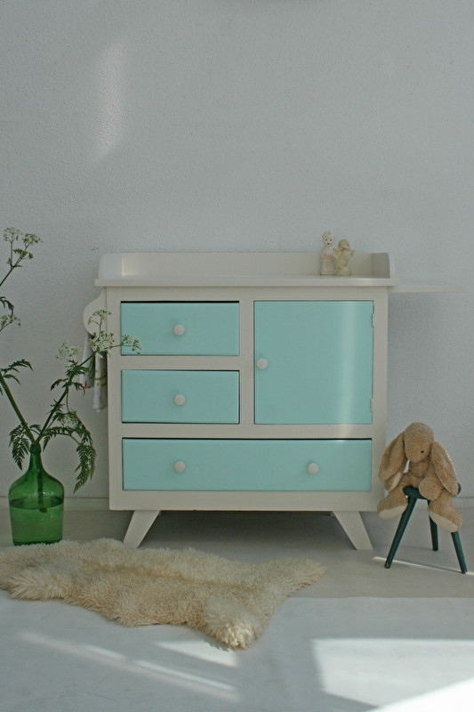 Vintage – fifties mintgroen - commode – restyle