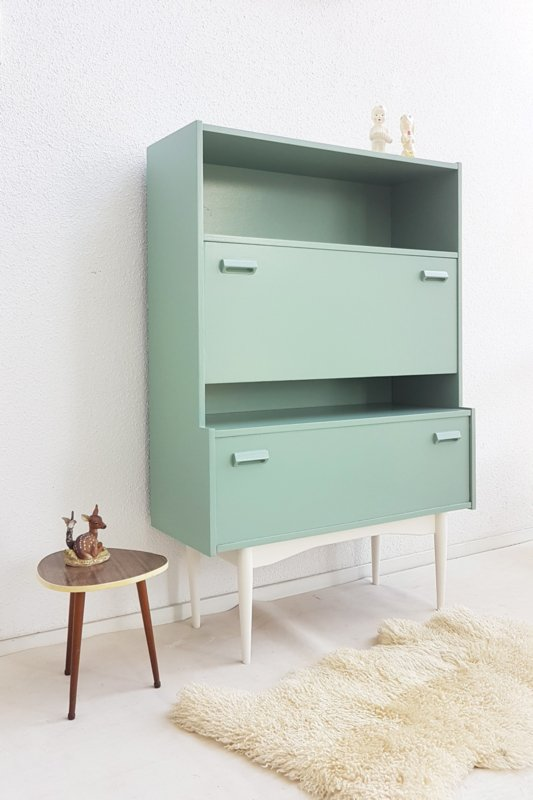 Vintage klepkast – secretaire op hoge poten – Celadoon - restyle