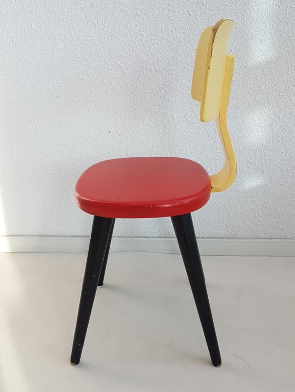 Uitgelezene Peuter stoel – geschilderd hout - geel, rood, zwart - vintage VE-18