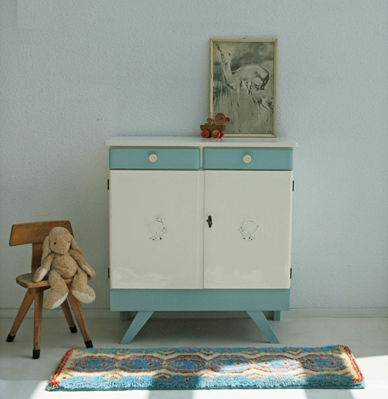 Vintage Fifties Grijs Blauw Commode Restyle