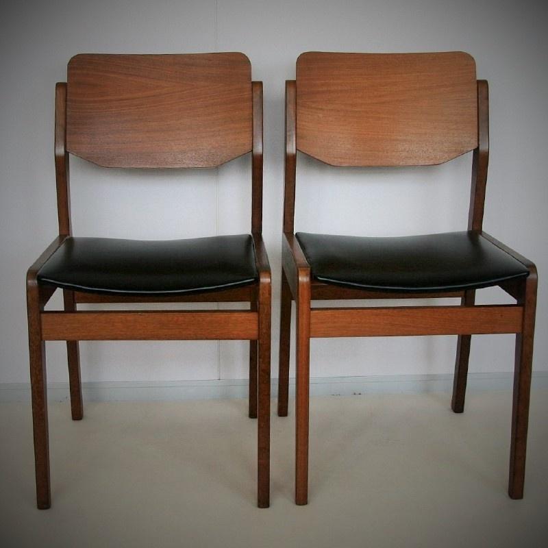 vintage eetkamer stoel - hout en skai