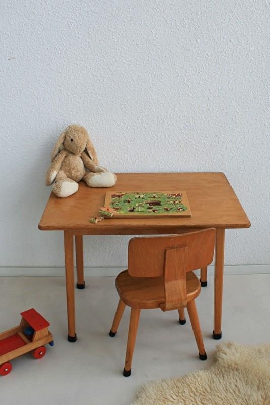 Houten Stoel Vintage.Houten Schoolset Tafel En Stoel Voor Kind 1 Vintage Meubels
