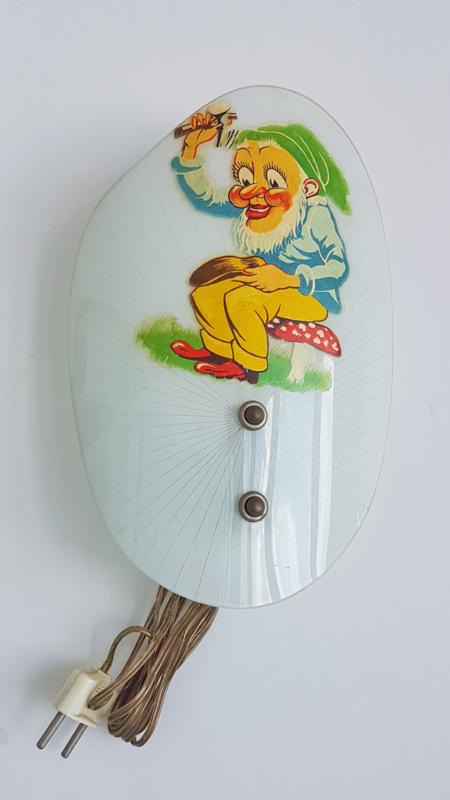 Wandlampje glas – kabouter - vintage
