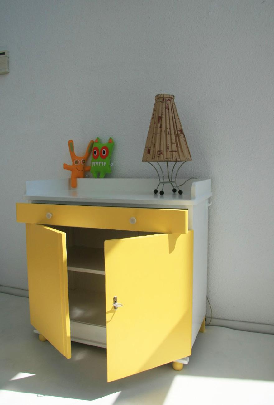 Commode Dressoir Van Hout Vintage Geel Jaren 5060