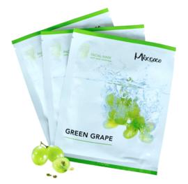 Groene Druiven Vliesmaskers Voor Gezicht & Hals