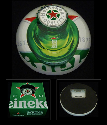Heineken presse-papier met flessenopener