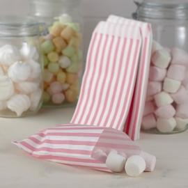 Gestreepte zakjes roze-wit (25st)