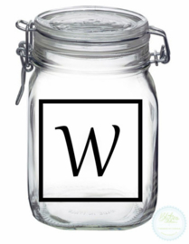Weckpot met opdruk (1 liter) - Vierkant met initiaal