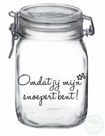 Weckpot met opdruk (1 liter) - snoepert