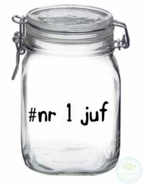 Weckpot met opdruk (1 liter) - #nr 1 juf