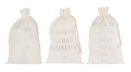 Zak Kerst Engels Velvet Wit Large