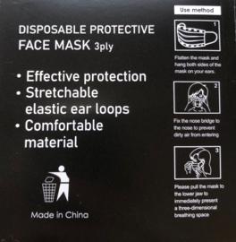 Niet medische mondmaskers 3 laags zwart