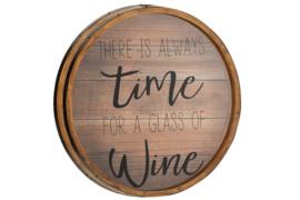 Kader Kurk Rond Wine Glas/Hout Naturel
