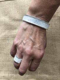 Ring koker zilver wit met swarovski kristallen