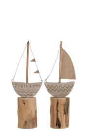 Boot Met Zeil/Vlaggetjes Op Voet Hout Naturel/Wit Large