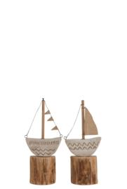 Boot Met Zeil/Vlaggetjes Op Voet Hout Naturel/Wit Small