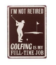 Plakaat Golfing Metaal Bruin
