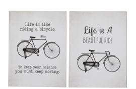 "Plakkaat Fiets Metaal Wit/Zwart ""LIFE IS A BEAUTIFUL RIDE"""