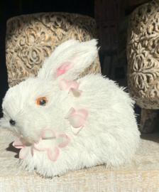 Konijn Zittend Bloem Wit/Roze