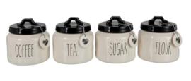 Voorraadpot Flour/Sugar/Coffee/Tea Keramiek Zwart/Wit set Van 4